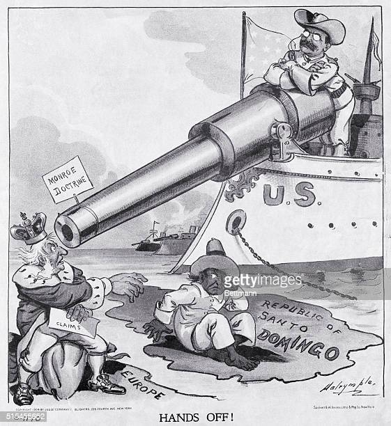 Political cartoon depicting an opinion about the Monroe Doctrin with a quote by President Roosevelt stating 'This in reality entails no new...