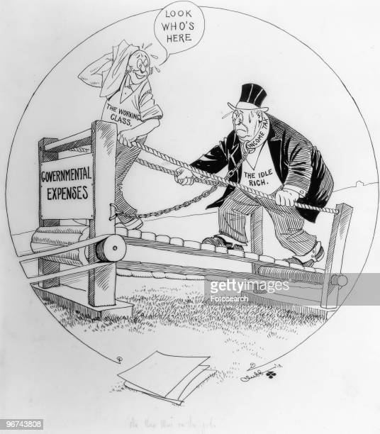 Political cartoon depicting an overweight man The Idle Rich shackled with a chain marked 'Income Tax' and a slim man The Working Class with no...