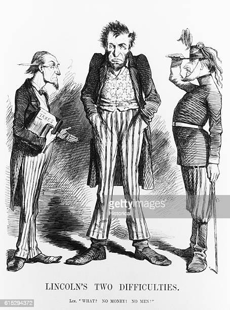 A political cartoon depicting President Lincoln learning that he has no money and no men to fight the Civil War