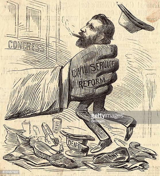 A political cartoon depicting President Ulysses S Grant being squeezed by a hand representing the Civil Service The caption reads The first result to...
