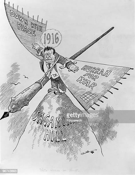 Political cartoon depicting Theodore Roosevelt standing atop Sagamore Hill wearing wings labeled 'Down With Peace' and 'Hurrah For War' while...
