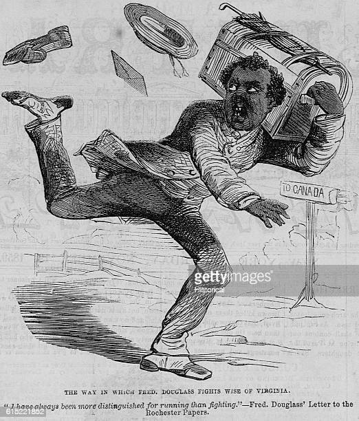 A political cartoon depicts abolitionist lecturer Frederick Douglass running from attacks by Virginia Governor Wise