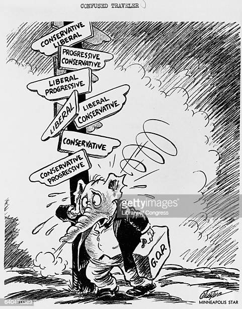 Political cartoon depicts an elephant wearing clothes, representing the Republican Party, dazed in confusion at a signpost with a multitude of signs...