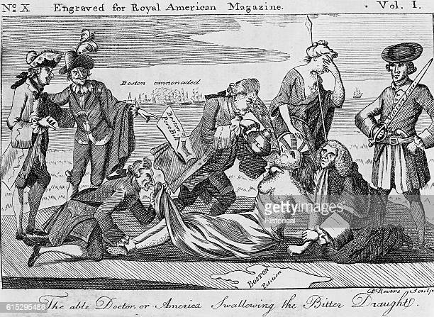 A political cartoon depicts British men holding down a woman who represents a 'lady liberty' figure of America and her rebellious colonists to force...