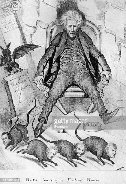 A political cartoon depicts President Andrew Jackson sitting stunned as his cabinet represented as rats run to escape his falling house The cartoon...