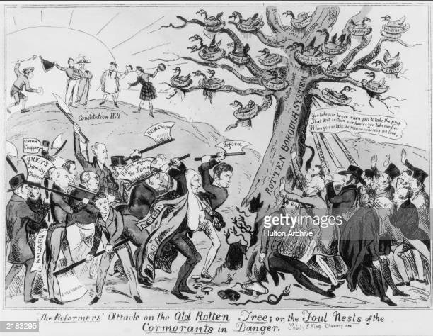 A political cartoon drawn by E King depicting the need for election reform and the problems of rotten boroughs Published in 1832 the piece is...