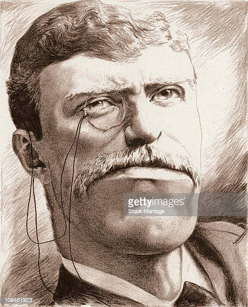 Political cartoon features an exaggerated caricature of American President Theodore Roosevelt 1898