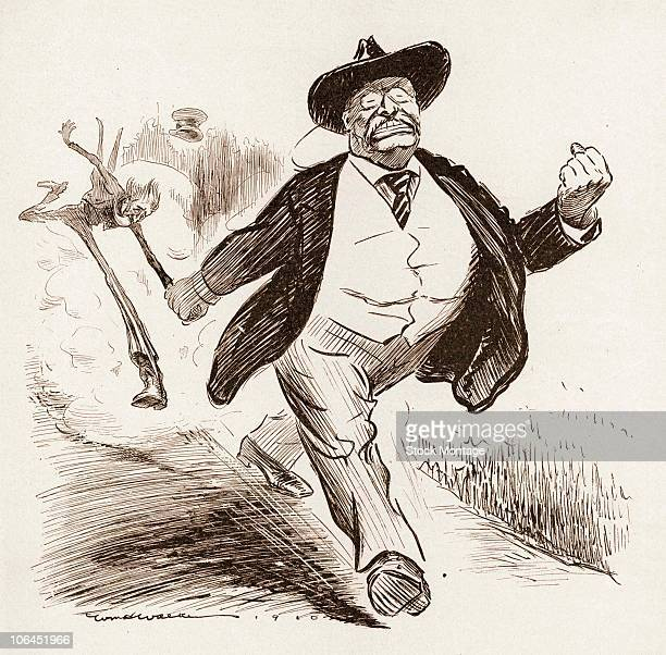 Political cartoon features an illustration of a robust US President Theodore Roosevelt as he determindly drags a spindly Uncle Sam by arm 1910 The...