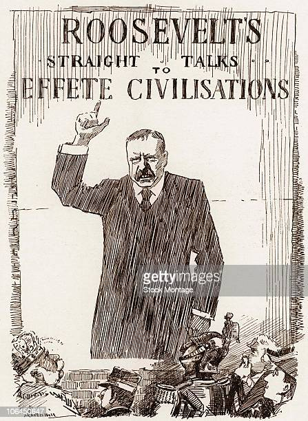 Political cartoon features an illustration of a stern US President Theodore Roosevelt as he towers over other world leaders during a speech under the...