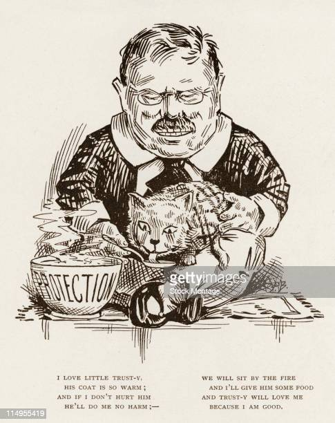 Political cartoon features an illustration of American President Theodore Roosevelt as he sits crosslegged on a carpet and feeds a cat with dollar...