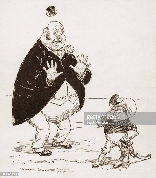Political cartoon ffeatures a caricature of American President Theodore Roosevelt dressed in his military uniform as he stares down a much larger but...