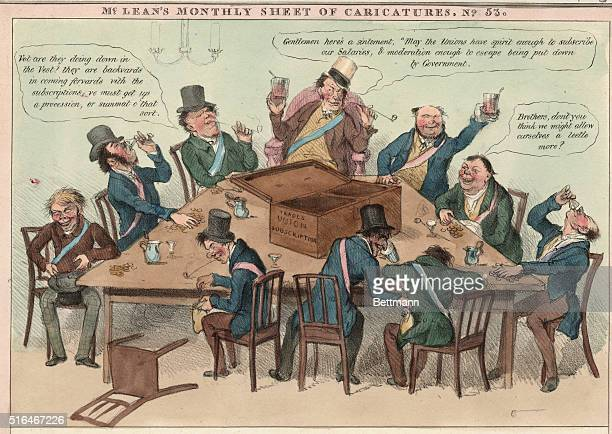 Political cartoon from McClean's Monthly Sheet of Caricatures depicting a Trades' Union committee stealing and drinking the profits of the...