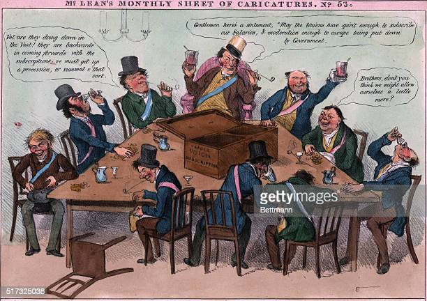 Political cartoon from McLean's Monthly Sheet of Caricatures depicting a trade union committee seated around a table drinking
