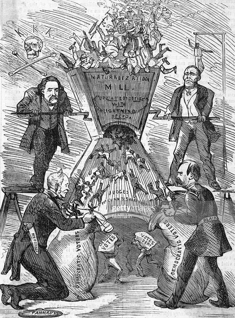 Political Cartoon Depicting Naturalization Mill : News Photo