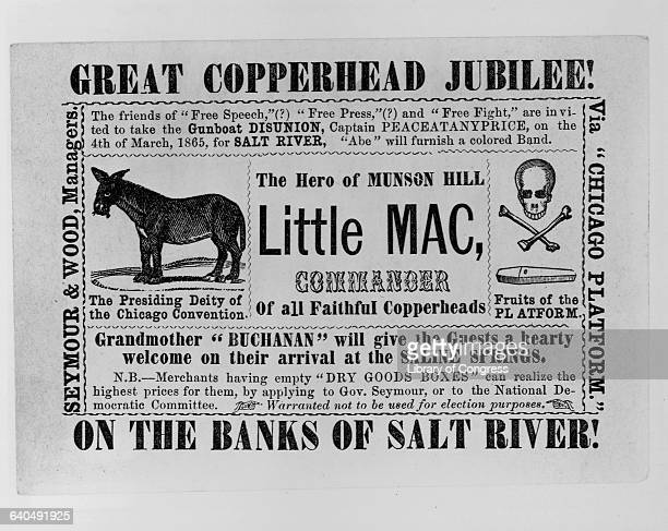 A political cartoon in the guise of an advertisement lampoons the 1864 presidential election candidates of the Copperheads or Peace Democrats who...