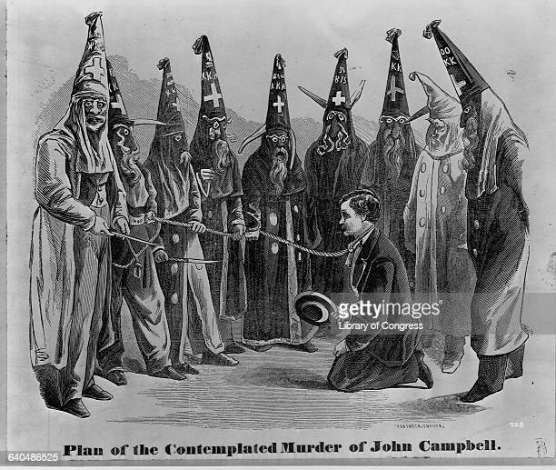A political cartoon in which Ku Klux Klansmen threaten to kill John Campbell who served as the assistant secretary of war in the Confederate Cabinet...