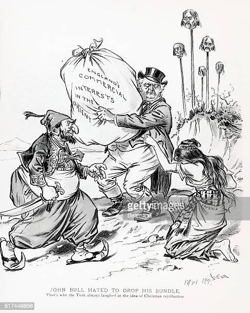 Political cartoon 'John Bull Hated to Drop His BundleThat's Why the Turk Always Laughed at the Idea of Christian Retribution' It shows John Bull with...