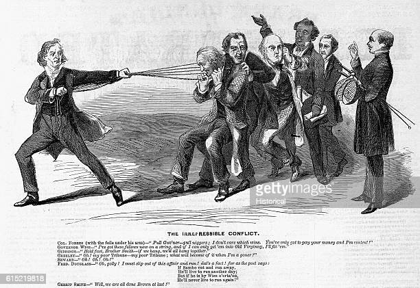 A 1859 political cartoon lampoons the conflict between Governor Wise of Virginia and a group of abolitionists including Frederick Douglas Horace...