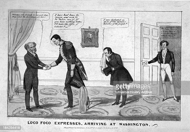 Political cartoon 'Loco Foco expresses arriving at Washington' Circa 1838 Lithograph with watercolor on wove paper This image satirises the meeting...