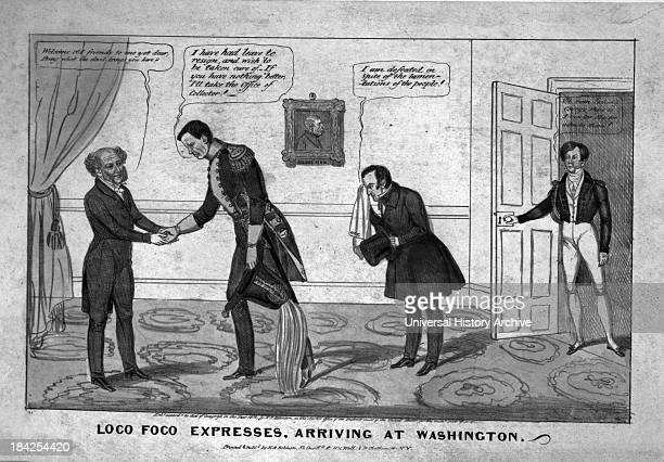 Political cartoon Loco Foco expresses arriving at Washington Circa 1838 Lithograph with watercolor on wove paper This image satirises the meeting of...