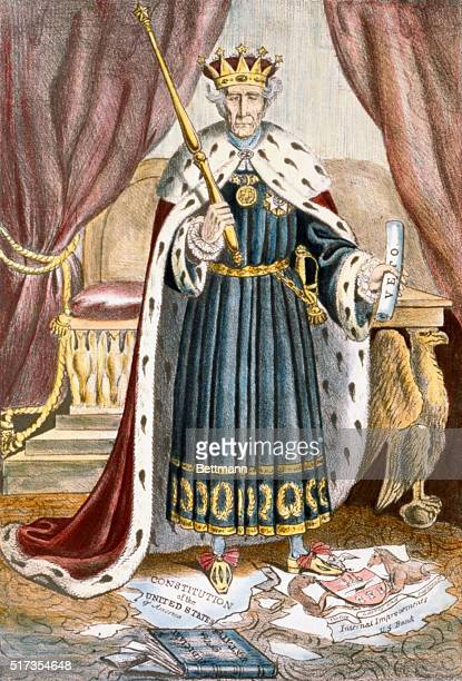 A political cartoon made during Andrew Jackson's presidency depicts Jackson as an absolute monarch who abuses his veto power and tramples on the...