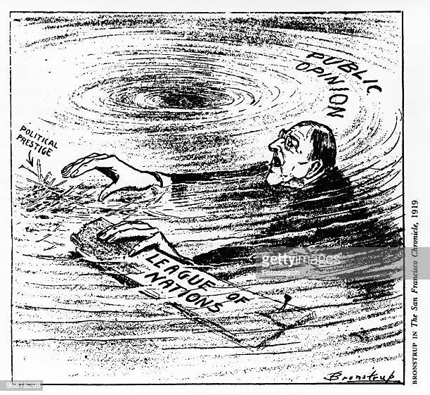 Political cartoon of American President Woodrow Wilson spinning out of control, published by Bronstrup in 'The San Francisco Chronicle', circa 1919. .