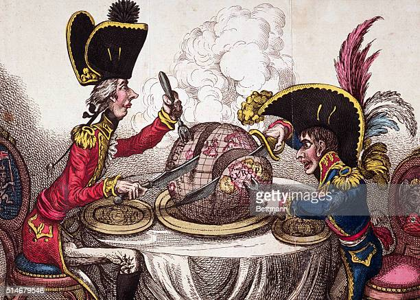 A political cartoon of Prime Minister William Pitt and Napoleon Bonaparte dividing up the globe almost certainly after the Peace of Amiens in 1802...