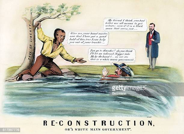 Political cartoon of Reconstruction or 'A White Man's Government' Drowning southerner refuses the helping hand of a black man Handcolored undated...