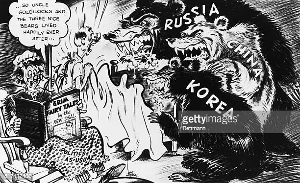 Political Cartoon of three bears labeled Russia, China, and Korea. The bears are shown scaring an elderly man in bed while an elderly women sits in...
