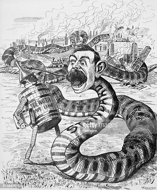 Political Cartoon of Tidewater Pipe Line fighting with Standard Oil