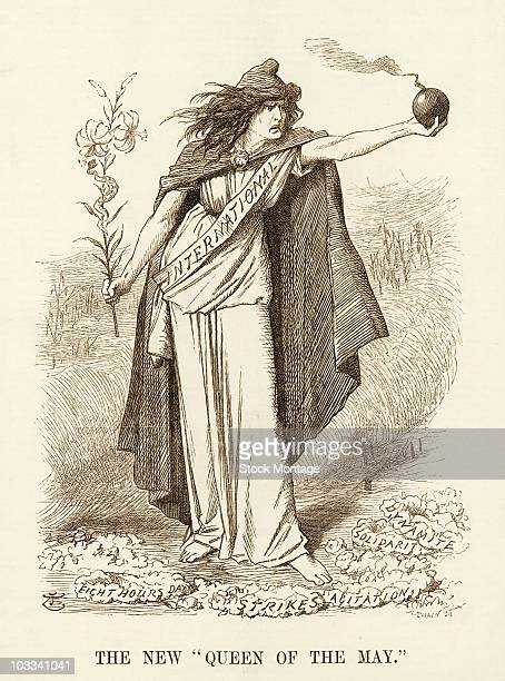 A political cartoon on socialism with a grimfaced female figure wearing a sash with the word 'International' written on it holding a lit bomb in her...