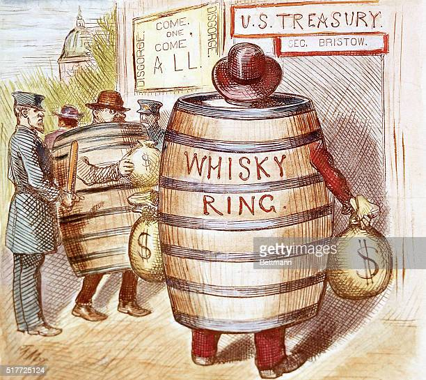 A political cartoon on the Whiskey Ring scandal that occured during President Grant's second term Grant's personal secretary Orville Babcock was one...