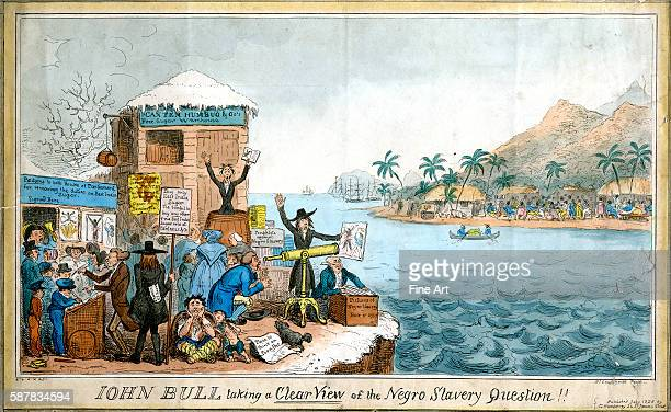 Political cartoon titled John Bull Taking a Clear View on the Negro Slavery Question engraving by R Cruikshank private collection
