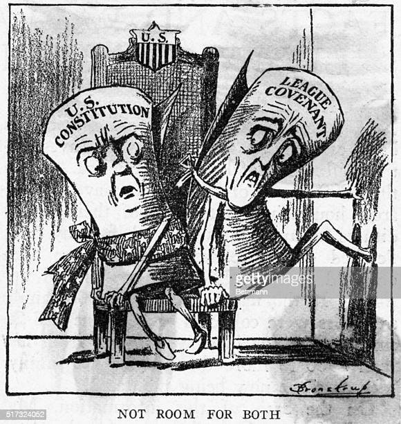 A political cartoon published in the San Francisco Chronicle depicts the battle between the US Constitution and the League of Nations