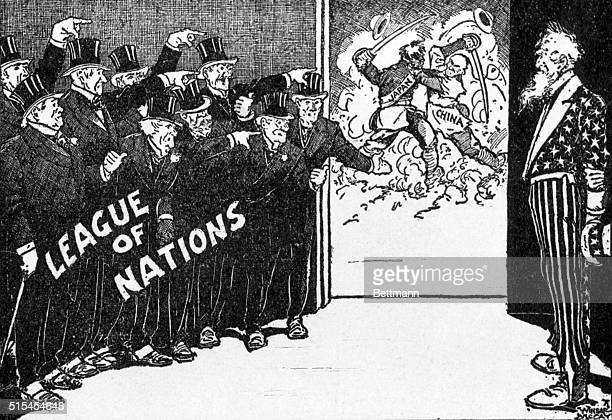 A 1931 political cartoon refers to the League of Nations and conflict between Japan and China