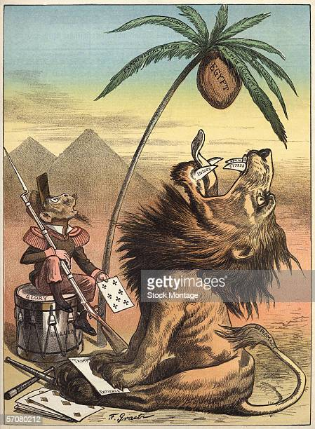 Political cartoon regarding European imperialism in regards to Egypt 1885 The original caption for the picture titled 'The Two Partners' reads...