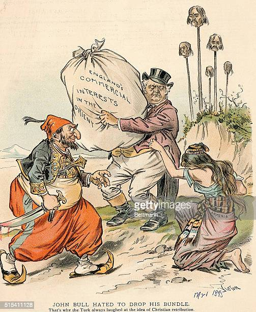A political cartoon showing an Englishman carrying a huge bag labeled England's commercial interests in the Orient He watches as a Turkish sultan...