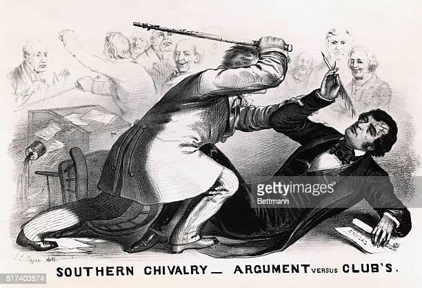 A political cartoon showing South Carolina Representative Preston Brooks beating abolitionist and Massachusetts Senator Charles Sumner in the Senate...