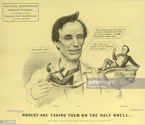 Political cartoon showing the Republican candidate Abraham Lincoln sizing up miniaturized versions of his two southern Democratic rivals Stephen...