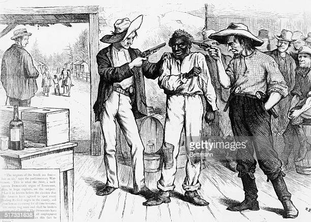 1876 Cartoon showing the freedom of the Negro voter in the South 1876 ORIGINAL