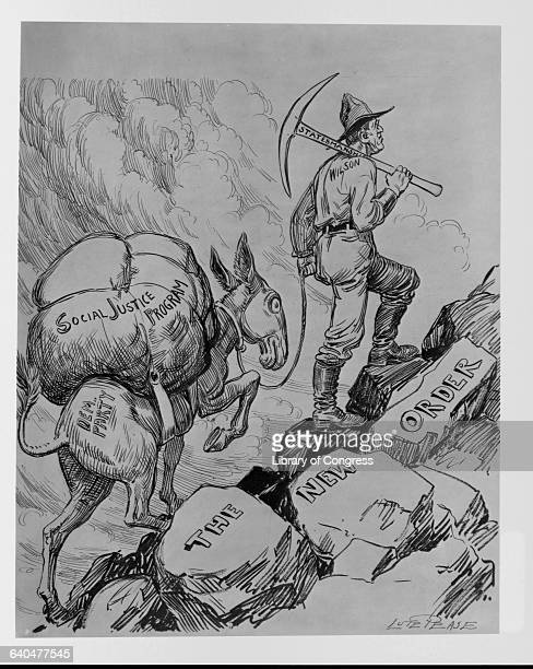 A political cartoon showing Woodrow Wilson as a prospector with a 'statesmanship' pike leading a Democratic party donkey loaded with 'social justice...