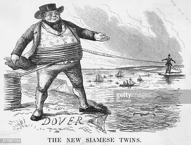 'The new Siamese twins' Depicts the DoverCalais telegraph line crossing the English Channel Undated engraving