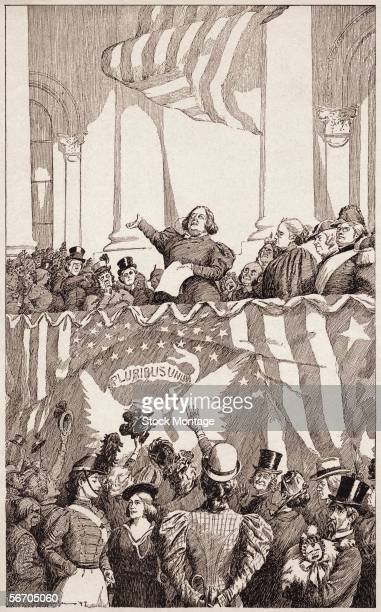 A political cartoon titled 'An Inauguration of the Future' shows the effects of the women's suffrage movement which include a female president female...