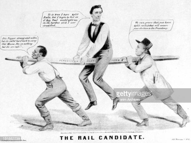 Political cartoon titled 'The Rail Candidate' commenting upon the antislavery plank of the 1860 Republican presidential candidate Abraham Lincoln in...