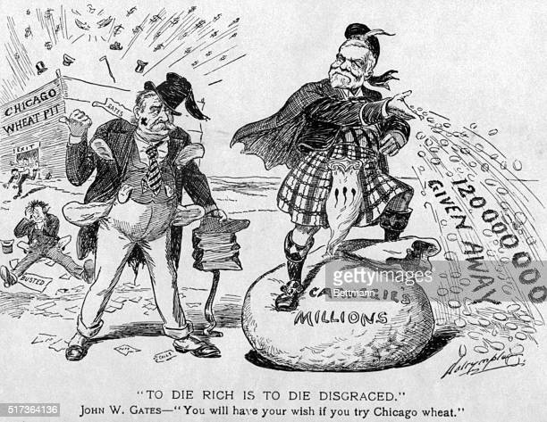Political cartoon with Andrew Carnegie and John W Gates 'To Die Rich is to Die Disgraced John W Gates 'You will have your wish if you try Chicago...