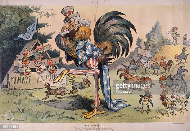 Political cartoon with the caption 'His Foresight Europe You're not the only rooster in South America Uncle Sam I was aware of that when I cooped you...