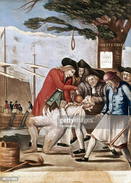 Political cartoon with the caption 'The Bostonians paying the Excise Man or tarring and feathering' depicting the tarring and feathering of John...