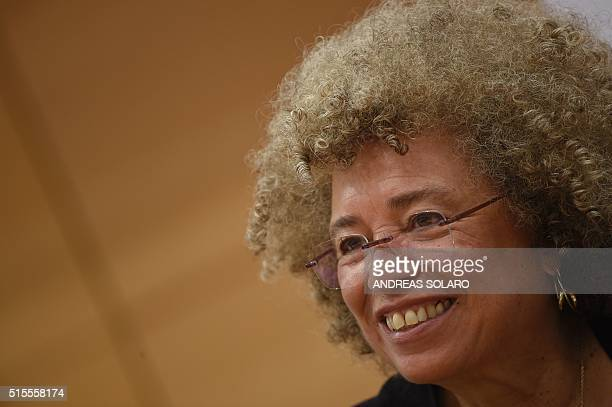 """Political civil-rights activist Angela Davis attends a meeting """"The meaning of white supremacy today"""", held at """"Roma TRE University"""" , on March 14,..."""