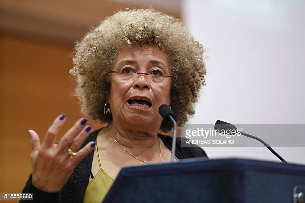 """Political civil-rights activist Angela Davis delivers a speech during a meeting """"The meaning of white supremacy today"""", held at """"Roma TRE University""""..."""