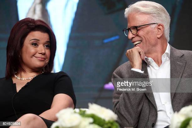 Political commentator Ana Navarro and actor Ted Danson of 'Finding Your Roots' speak onstage during the PBS portion of the 2017 Summer Television...